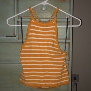 Forever 21 yellow and white striped halter top